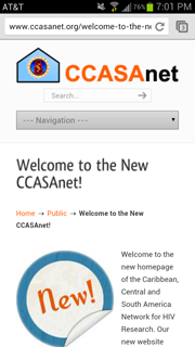 Screenshot of the Welcome to the New CCASAnet.org Post on a Mobile Phone